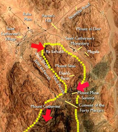 Mount Sinai peaks w arrows