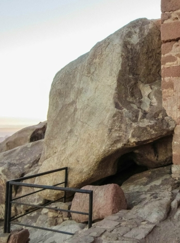 The rock on which God stood to give Ten Commandments, cleft underneath where Moses hid, cropped